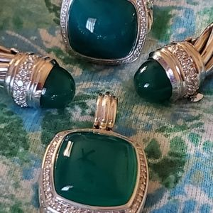 David Yurman Sterling Silver Green Onyx Albion